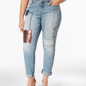 I.N.C. Plus Size Sequin-Patch Boyfriend Jeans